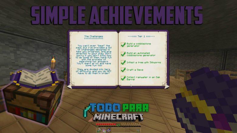 Mod Simple Achievements para Minecraft 1.10/1.7